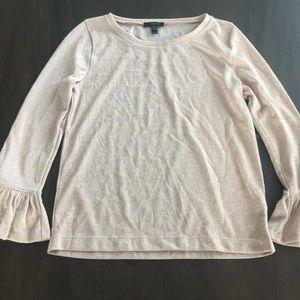 J. Crew Cream and gold ruffle sleeve sweater